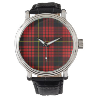赤いタータンチェックのヴィンテージの黒の革バンドの腕時計 腕時計