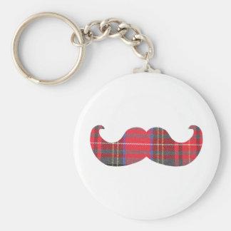 赤いタータンチェックの髭 キーホルダー