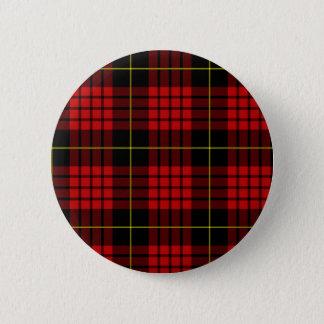赤いタータンチェックボタン 5.7CM 丸型バッジ