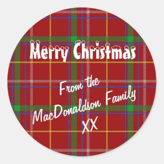 赤いタータンチェック格子縞のメリークリスマス ラウンドシール