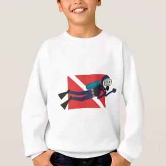 赤いダイビングの旗のギフトを持つかわいくおもしろいなスキューバダイバー スウェットシャツ