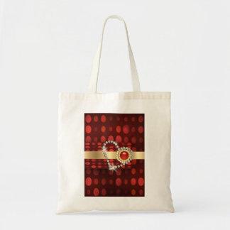 赤いダイヤモンドのハートの光っている宝石 トートバッグ