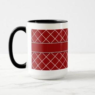 赤いダイヤモンドのモノグラムのなメンズ マグカップ