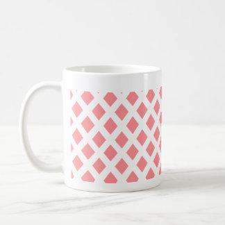 赤いダイヤモンドパターン コーヒーマグカップ