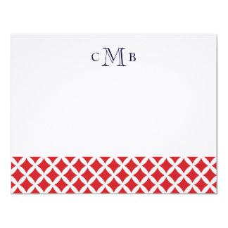 赤いダイヤモンド結婚式のモノグラムの文房具 カード