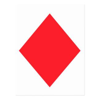 赤いダイヤモンド-賭博カードのスーツ ポストカード