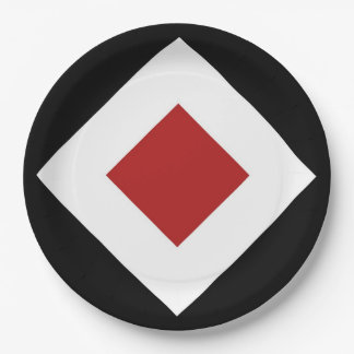 赤いダイヤモンド、黒のはっきりしたで白いボーダー ペーパープレート