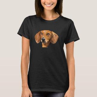 赤いダックスフント犬 Tシャツ