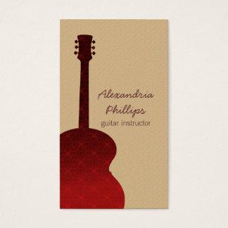赤いダマスク織のギターの音楽業界カード 名刺