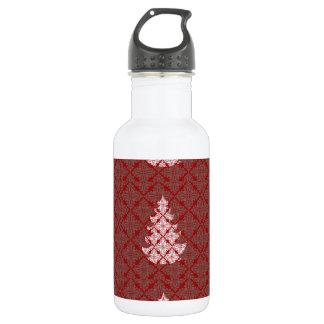 赤いダマスク織のクリスマスツリー ウォーターボトル
