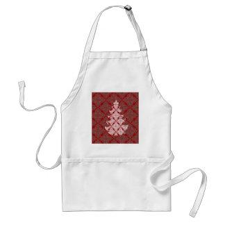 赤いダマスク織のクリスマスツリー スタンダードエプロン