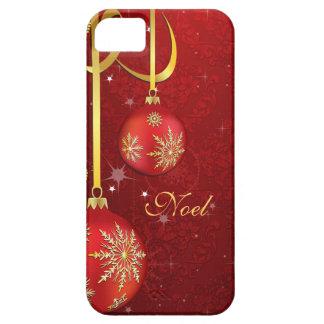 赤いダマスク織のクリスマス iPhone SE/5/5s ケース