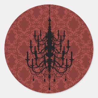 赤いダマスク織のシャンデリアの結婚式のシール ラウンドシール