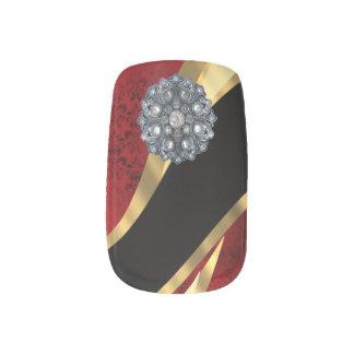 赤いダマスク織のラインストーンパターン ネイルアート