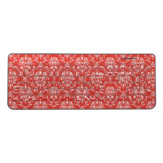 赤いダマスク織の無線電信のキーボード ワイヤレスキーボード