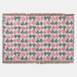 赤いダマスク織カードはハートのダイヤモンド踏鋤クラブに適します スローブランケット