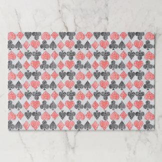 赤いダマスク織カードはハートのダイヤモンド踏鋤クラブに適します ペーパーパッド