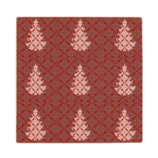 赤いダマスク織パターンクラシックなクリスマスツリー ウッドコースター
