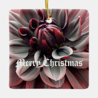 赤いダリアのメリークリスマス セラミックオーナメント