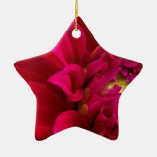 赤いダリア 陶器製星型オーナメント