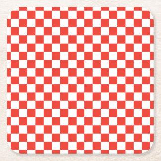 赤いチェッカーボード スクエアペーパーコースター