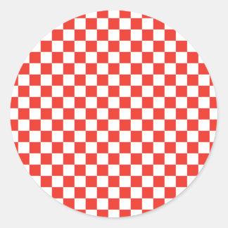 赤いチェッカーボード 丸形シールステッカー