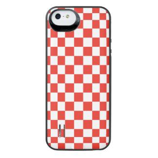 赤いチェッカーボード iPhone SE/5/5sバッテリーケース