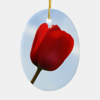 赤いチューリップのオーナメント 陶器製卵型オーナメント