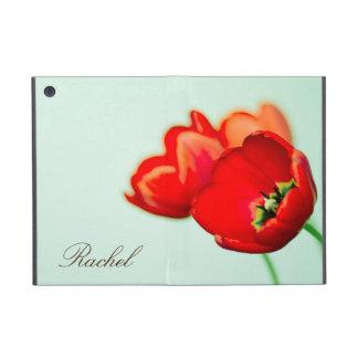 赤いチューリップの個人的な花の真新しい緑の《写真》ぼけ味のスタイル iPad MINI ケース