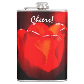 赤いチューリップの花-火 フラスク