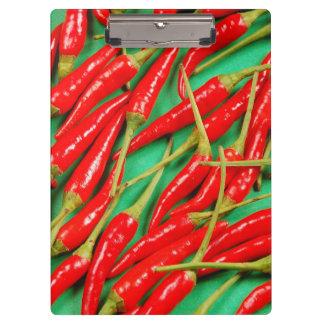 赤いチリペッパーのプリント クリップボード