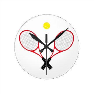 赤いテニスラケットの柱時計 ラウンド壁時計