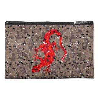 赤いトカゲのコラージュ トラベルアクセサリーバッグ