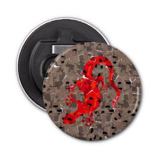 赤いトカゲのコラージュ 栓抜き