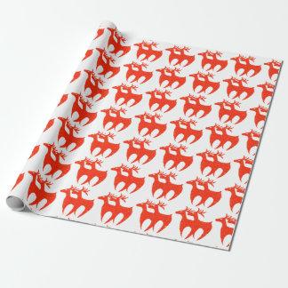 赤いトナカイのギフトの包装紙 ラッピングペーパー