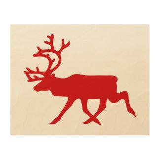 赤いトナカイ/カリブーのシルエット ウッドウォールアート
