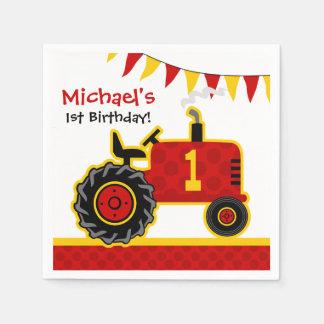 赤いトラクターの第1誕生日 スタンダードカクテルナプキン