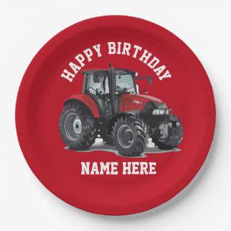 赤いトラクターの農業の誕生日のプレート ペーパープレート