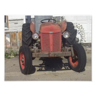 赤いトラクター フォトプリント