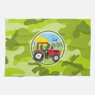 赤いトラクター; 若草色の迷彩柄、カムフラージュ キッチンタオル