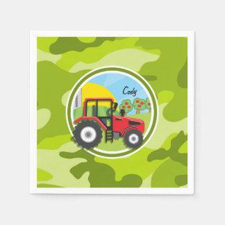 赤いトラクター; 若草色の迷彩柄、カムフラージュ スタンダードカクテルナプキン