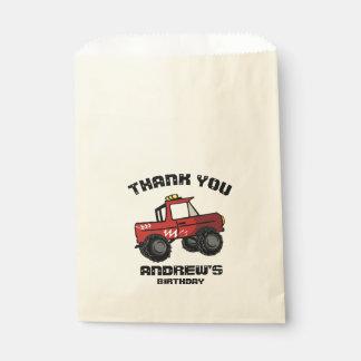 赤いトラックの誕生日4の回転おもしろいのモンスタートラック フェイバーバッグ