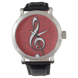 赤いト音記号の腕時計 腕時計