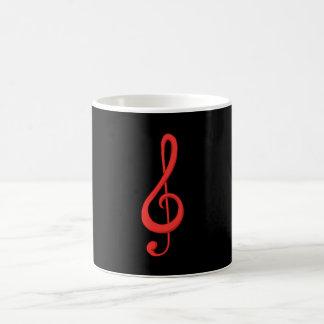 赤いト音記号音楽実例 コーヒーマグカップ