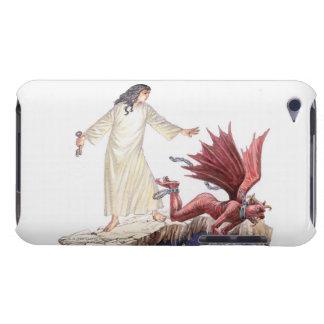 赤いドラゴンとして見ている天使のイラストレーション Case-Mate iPod TOUCH ケース