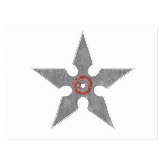 赤いドラゴンとの銀製のShuriken ポストカード