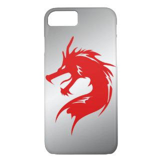 赤いドラゴンの金属の背景 iPhone 8/7ケース