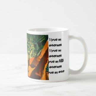 赤いドーベルマン犬のマグ コーヒーマグカップ