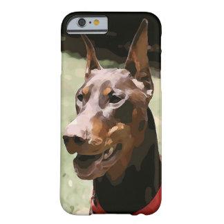 赤いドーベルマン犬Potrait (v9-2) Barely There iPhone 6 ケース