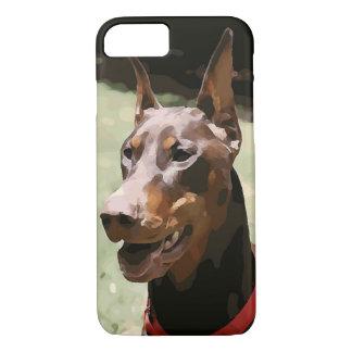 赤いドーベルマン犬Potrait (v9-2) iPhone 8/7ケース
